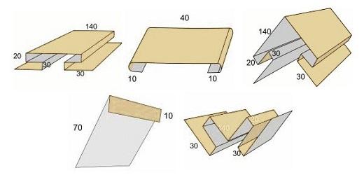 На снимке показаны доборные элементы для металлического сайдинга