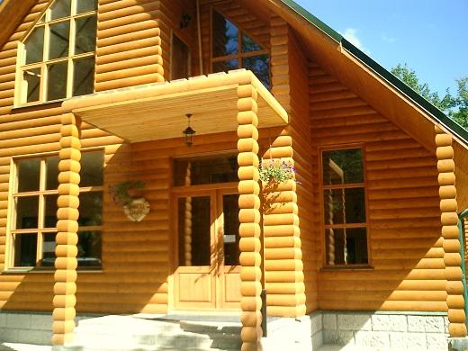 На рисунке изображение дома, обшитого панелями блок-хаус
