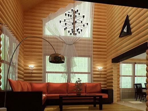 Интерьер комнаты, обшитой панелями блок-хаус на фото