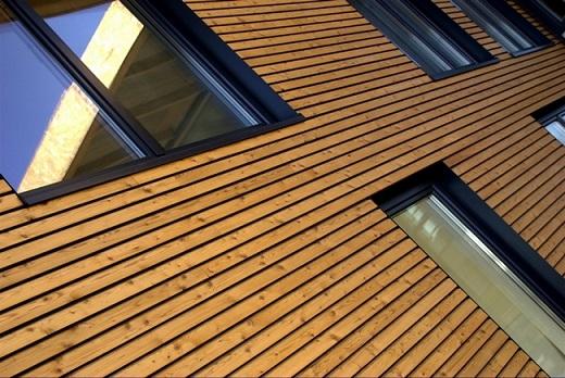На фото облицовка фасада планкеном из лиственницы вблизи