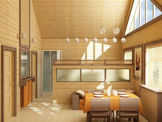 Пример оформления кухни деревянной вагонкой в стиле хай-тек