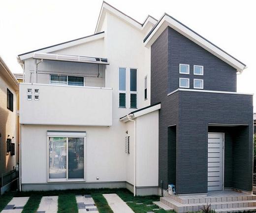 Японский вентилируемый фасад в контрастных цветах на изображении