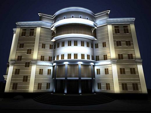 Пример архитектурной подсветки на фото